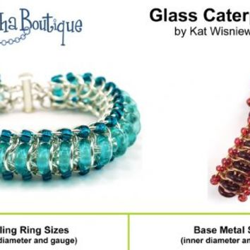 INSTRUCTIONS- Glass Caterpillar Bracelet 4 pg Chainmaille Right-hand PDF tutorial