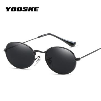 YOOSKE Retro Small Round Sunglasses Women Fashion Brand Designer Vintage Eyeglasses Female Metal Frame UV400 Sun Glasses Shades