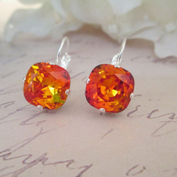 swarovski crystal earrings, FIRE OPAL, 12mm square cushion cut, designer inspired, stunning,