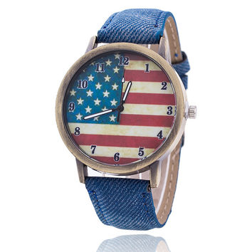 New Fashion Jeans Watch Women USA Flag Quartz Watches Unisex Casual Wrist Watch Relogio Feminino Christmas Gifts 1774