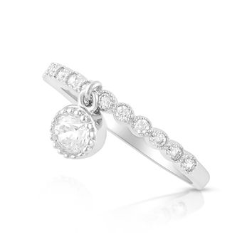 Sterling Silver Thin Stackable Dangling Charm Cz Ring