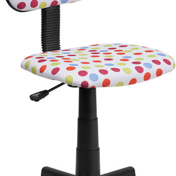 Multi-Colored Dot Printed Computer Chair