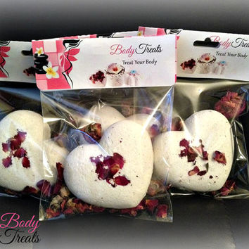 Milk Bath - Bath Bomb Fizzy Heart Shaped Rose Pedals Pick Your Own Scent Bath Soak