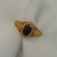 Genuine Ruby Ring July Birthstone Vintage 22 Karat Gold India Tracy B Designs Estate Jewelry Seller