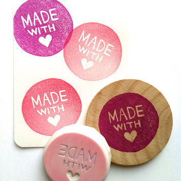 made with love rubber stamp. hand carved rubber stamp. packaging stamp. hand lettered stamp. for crafters/makers. circle pattern.  mounted.