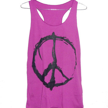 Peace tank top size XS/ S small tops sign print teen girl clothing **sleeveless tank **woman tee shirt **apparel clothes