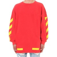 Off-White c/o Virgil Abloh | Red Contrast Arrows Cotton-jersey Sweatshirt for Men | Lyst