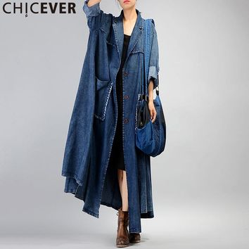 CHICEVER Denim Style Ripper Ankle Long Trench Coat Big Size Loose Women's Windbreaker Autumn Big Pocket Overcoats Casual Clothes