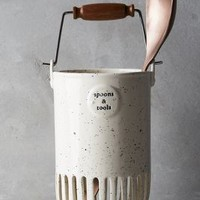 Dairy Pail Utensil Jar by Anthropologie in Ivory Size: One Size Kitchen