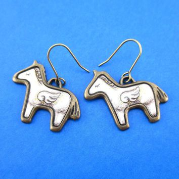 White Unicorn with Wings Shaped Illustrated Dangle Earrings | Animal Jewelry