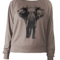 Womens Longsleeve Lightweight Pullover - Elephant Sweatshirt - Elephant Sweater - Elephant Gifts For Her Animal Prints Sweatshirt