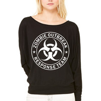 Zombie Outbreak Response Team WOMEN'S FLOWY LONG SLEEVE OFF SHOULDER TEE