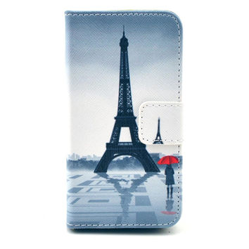 Leather Flip Case Stand Cover For iphone 5c With Card Holder (Eiffel Tower)