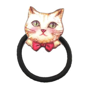 Kitty Cat Wearing a Bow Tie Shaped Glittery Hair Tie Ponytail Holder