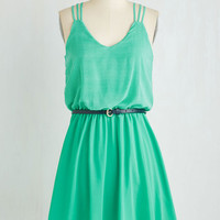 Short Length Sleeveless A-line Spearmint Mojito Dress