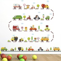 Cartoon Animal Driving Racing Car wall stickers For Kids Rooms kindergarten Nursery children Room Decoration Wall Decals Poster