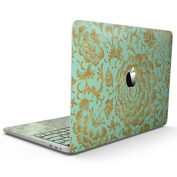 Mint and Gold Floral v2 - MacBook Pro with Touch Bar Skin Kit