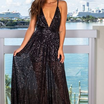 Black Sequin Maxi Dress with Criss Cross Back
