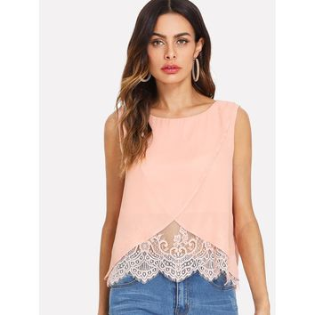 Pink Lace Insert Wrap Front Top