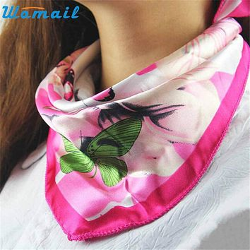 Womail Coolbeener Hot Satin Silk Square Scarf Women Fashion Joker Four Seasons Silk Satin Scarves Dec6
