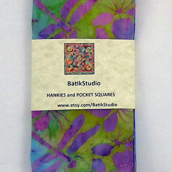 "Dragonfly Hankies / 13"" / Easter Hankies / Colourful Pocket Square / Dragonfly Pocket Square / Spring Handkerchief / BatikStudio"