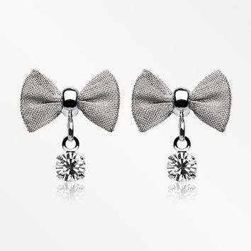 A Pair of Dainty Mesh Bow-Tie Sparkle Dangle Ear Stud Earrings