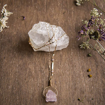 Ring Around the Rose Quartz -  Long Gold Pendant Necklace, Boho Chic, Raw Gemstone Crystal Jewellery, Gifts for Mom, Bridesmaid Gift, Love