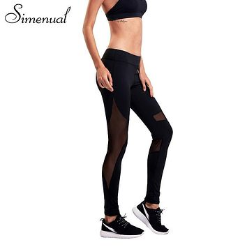 Simenual 2017 Summer mesh splice legging fitness women athleisure slim sexy elastic women's leggings harajuku black jeggings hot