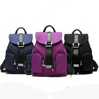 Fashion Stitching Simple Casual Oxford Cloth Zip Double Shoulder Bag Backpack Handbag