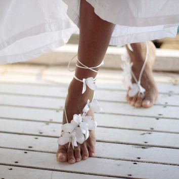 Butterfly beach wedding barefoot sandal,nude shoes