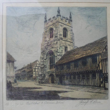 Fine Art Etching by Joseph F Pymm (1900-1972) - Guildhall and Grammar School - Limited edition - Shakespeare's Stratford-on-Avon