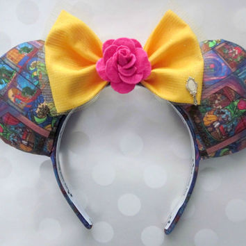 Beauty and the Beast Stained Glass Mouse Ears Headband, Custom Ears, Exclusive Fabric Design