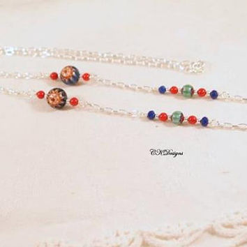 Eyeglass Lanyard, Chevron Glass Beads, Red Coral Beads and Silver Chain Beaded Eyeglass Holder Necklace.  CKDesigns.us