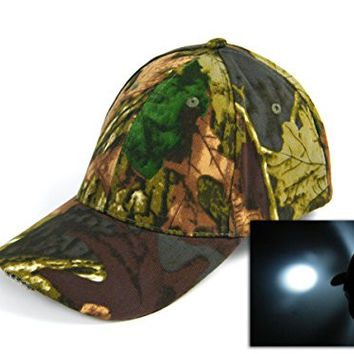With Battry! Light 5 LED Camouflage Camo Hunting Jungle Fishing Hat Cap Vintage hiking cap