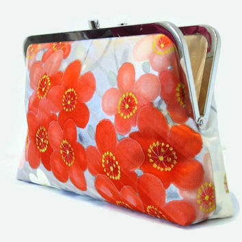 "Grey Silk Clutch Bag With Red, Coral Pink And White Floral Design, Silk Purse Made From Japanese Kimono Silk Bridal Purse 9"" x 5.5"""