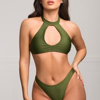 Pink Sands Beach Two Piece Swimsuit - Olive
