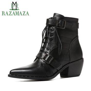 RAZAMAZA Women Ankle Boots Genuine Leather Shoes Woman High Heel Boost Winter Buckle Punk Shoes Gothic Footwear Size 34-42