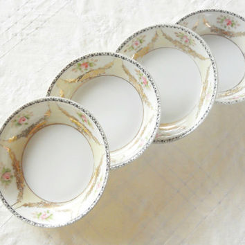 Antique Noritake Dessert Bowls, Set of 4, Nippon, Morimura Brothers, Rustic Romance, Cottage Style, Weddings, Berry Bowls