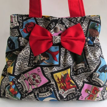 Loteria Handbag Purse / Retro Mexican Lottery Game Hand Bag / Red Bow