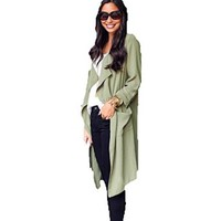Women's Long Sleeve Long Casual Trench Coat