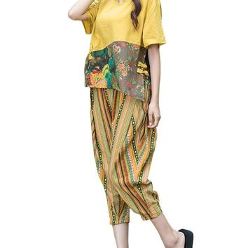 Vintage Printed Tops Striped Pants Women Casual Suits