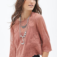 Boxy Mesh Lace Top