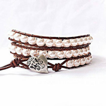 leather wrap bracelet, beaded wrap bracelet, wrap bracelet, leather wrap, leather bracelet, pink pearl leather wrap bracelet, rustic, boho