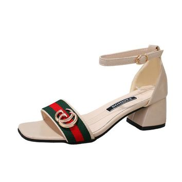 Gucci Fashion Red Army Green Stripe Summer Women Open-Toed Contracted Heel-Strap Sandals Black-3