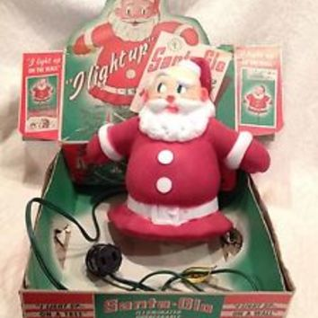 Vtg 1940s Santa-Glo Lighted TREE TOPPER Wall Plaque Flocked Exterior with BOX!