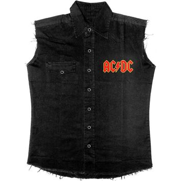 AC/DC Men's  High Voltage Rock N Roll Work Shirt Black Rockabilia