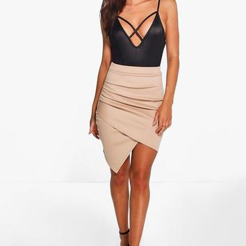 Gracie Rouched Side Asymmetric Skirt   Boohoo