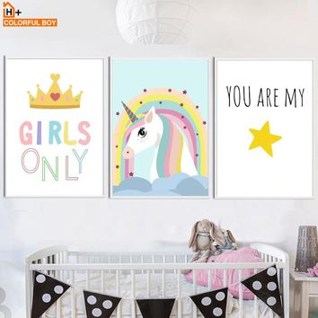 Unicorn Crown Girl Quotes Wall Art Canvas Painting Nordic Posters And Prints Cartoon Animals Wall Pictures Baby Kids Room Decor