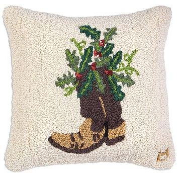"Holly Cowboy Boot Hooked Wool Pillow 18""W"