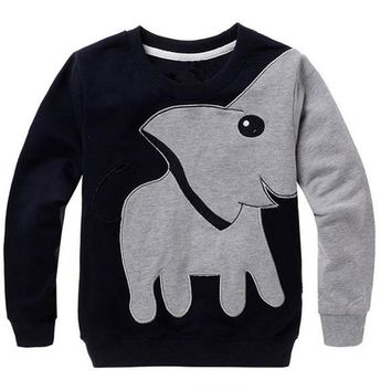 Toddler Baby Girls Boys Clothes Elephant Long Sleeve Blouse Tops Sweater Shirt D50